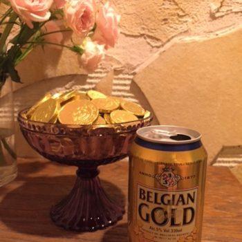 缶ビール(ベルジャンゴールド)とベルギーコインチョコ大2枚小1枚でセット価格\600 1/23(土)サルホナイト@ザ・ルーム代官山