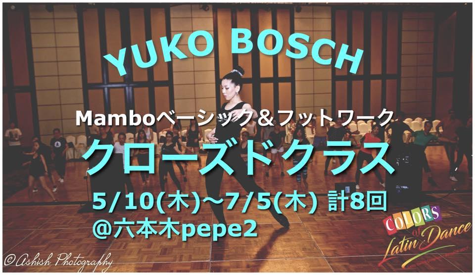 お申込受付中》YUKO BOSCH クローズドクラス、5月スタート ~8回集中サルサon2クラス~